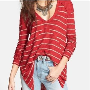 Free People Slouchy Long Sleeve Striped Knit Top